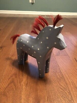Vintage IKEA Wood Dala Horse Light Blue Gray White Polka Dots