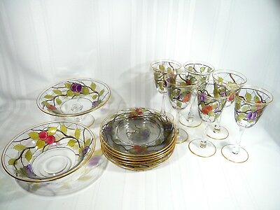 Antique Webb Corbett Enamelle Wine Glasses / Dessert Set Plates  Hugo Masey