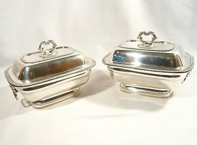 2 Antique OLD SHEFFIELD PLATE Footed COVERED ENTREE SAUCE Dishes c 1780
