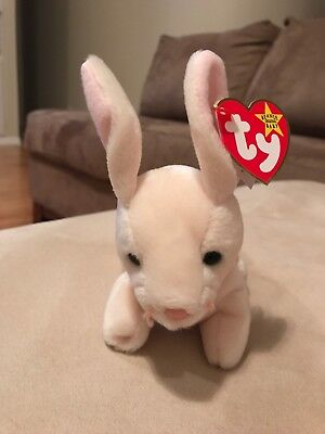 New 98/99 Nibbler the Rabbit Ty Beanie Baby Rare ERRORS Tags and tag protector