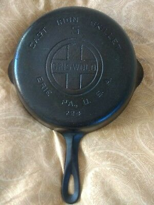 Vintage GRISWOLD #5 Cast Iron Skillet FRY PAN Marked 724 LARGE BLOCK LOGO Erie