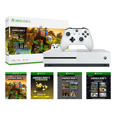 Microsoft Xbox One S 1TB Minecraft Creators Bundle, White NEW