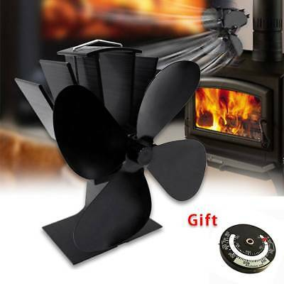 Stove Top Fan Eco Fireplace Heat Powered Fan For Wood Log Burners 4 Blades +GIFT