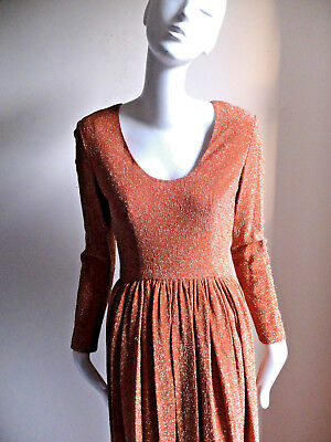 Vintage LARRY ALDRICH Glittering Evening Gown sz 4 6 SM M 1960s 1970s Hollywood