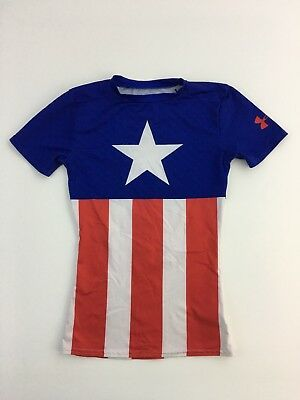 Boys Under Armour Marvel Captain America Fitted Heat Gear Shirt Youth Small