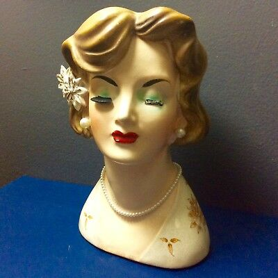 """Vintage Lady Head Vase Japan Brunette 1950s Red Lips Lashes 6"""" Hand Painted RARE"""
