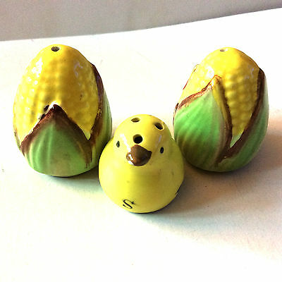 Vintage Salt Pepper Shaker Lot Corn set and Chicken 1950s Japan Collectible Nice