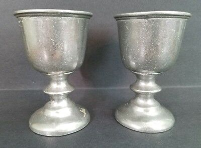 """Lot/set of 2 Wilton Armetale Pewter Metal Tavern Wine Water Goblets Cup 5"""" Tall"""
