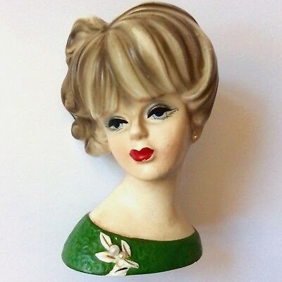 Vintage Lady Head Vase NAPCOWARE 1950s JAPAN Red Lips Pearls Hand Painted WOW!