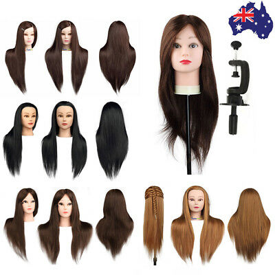 100% Real Human Hair Salon Hairdressing Training head Mannequin Doll+Clamp Mutil