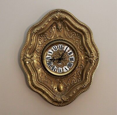Rare 19th Century French Antique Repousse Brass Wall Clock in Working Order