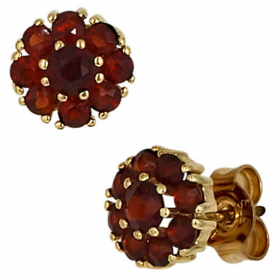Ear Studs Jewelry Flower Flowers from Garnet Red 375 Gold Yellow Gold Ladies