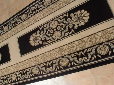 Hallway Runner Carpet Rug Black Cream Border 80cm Wide Saray Palace Per Metre