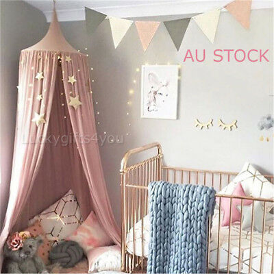 Kids Baby Bed Canopy Cover Net Curtain Bedding Anti-Mosquito Dome Tent Cotton AU