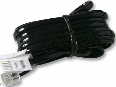 Landline Cable for CORDLESS TELEPHONE ANSWER PHONE BASE STATION CABLE. BLACK