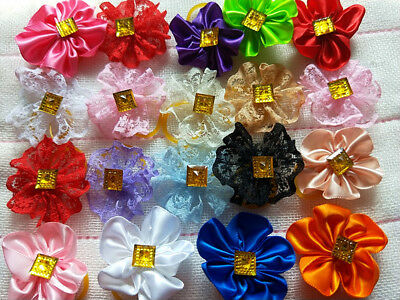 50PCS/LOT mixed colour  Pet Dog Accessories Grooming puppy Hair Bow