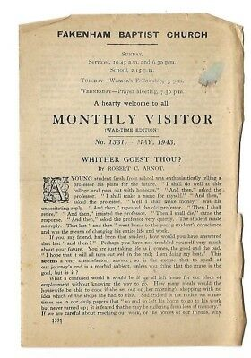 """""""monthly Visitor Tract"""" ~ May 1943 ~ Fakenham Baptist Church ~ War-Time Edition"""