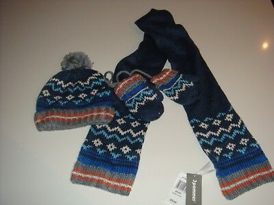 3 Pommes Boys Blue Mitten Hat & Scarf Set Age 2-3 years 98cms