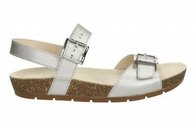 f561d228c2 BN Clarks Girls Silver Leather Active Air Footbed Buckle Strap Sandals Sz 5F