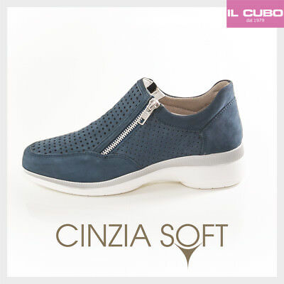 CINZIA SOFT SNEAKERS Donna Colore Denim Zeppa H 4 Cm New Shoes - EUR ... d7a025ca75c