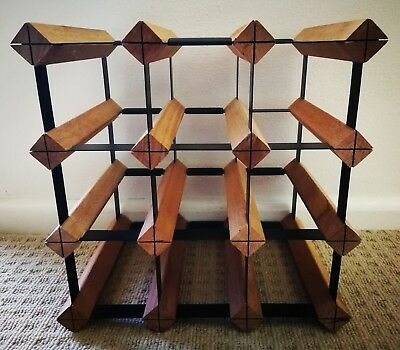 Wooden and Black Metal 12 Bottle Wine Rack - AS NEW retails for $50+