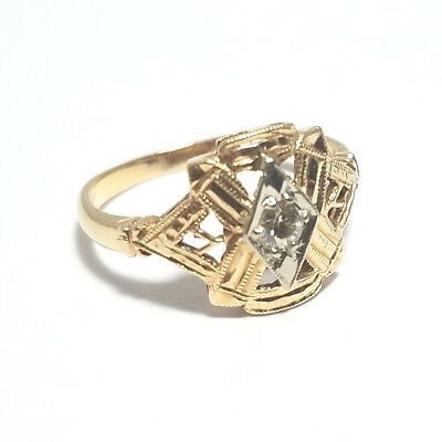 Vintage 14K Gold Masonic Style Ring Yellow Gold with White Gold Accent Size 5