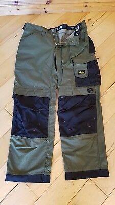 "Snickers 3312 DuraTwill Craftsmen Trousers olive green W33"" L30"" size 92"