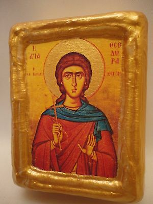Saint Theodora Christian Byzantine Greek Eastern Orthodox Wooden Icon Block