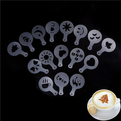 16Pcs Cappuccino Coffee Barista Stencil Template Sparga pad Duster Spray Tool CR