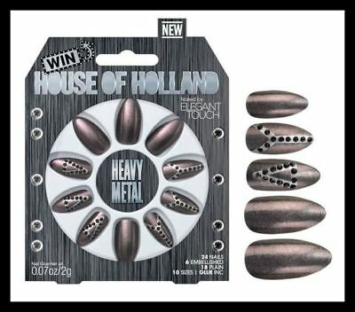 Designer House Of Holland Heavy Metal Nails Rrp £13 Bnib Peace Sign Delta Henry