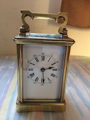 Antique French Brass Carriage Clock Recently Serviced 8 Day Working Order