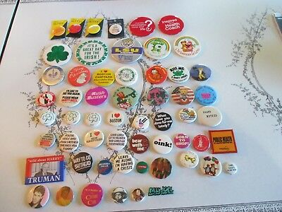 Lot Of 57 Pinback Buttons Political, Musicians, Bears, Chippendale Dancers