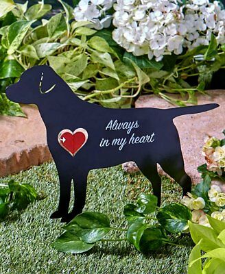 PET DOG MEMORIAL SILHOUETTE HEART SPINNER STAKE Grave Head Stone Marker Puppy