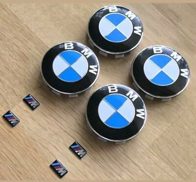 Bmw Alloy wheel 68mm centre caps & m sport sticker emblems, brand new