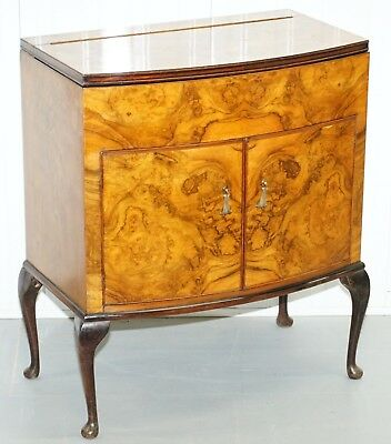 Sweet Little Art Deco Burr Walnut Drinks Cabinet With Mirrored Pull Out Door
