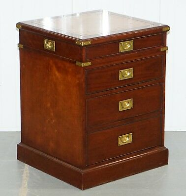 Rrp £3000 Harrods Kennedy Military Desk Drawers Filing Cabinet Rare Sliding Top