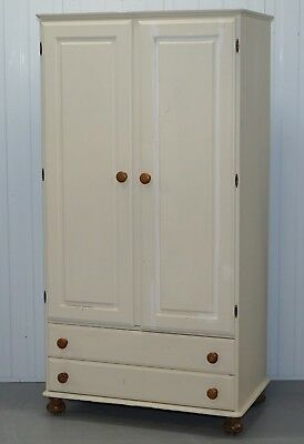 Vintage Ducal Solid English Pine Shabby Chic Wardrobe For Painting Restoration