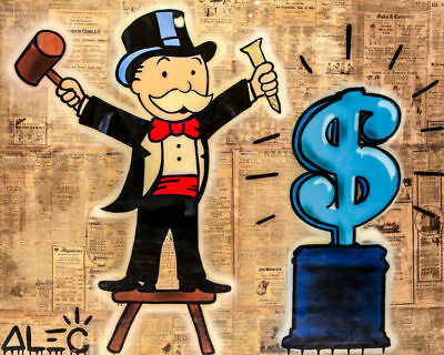 Alec Monopoly Graffiti Handcraft Oil Painting on Canvas, Monopoly Carving