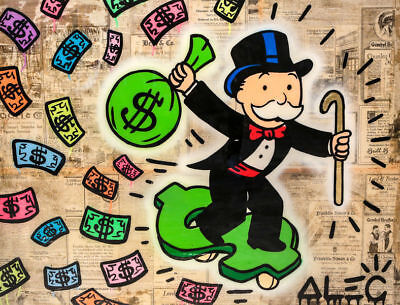 Alec Monopoly Graffiti Handcraft Oil Painting on Canvas, Monopoly Skateboarding
