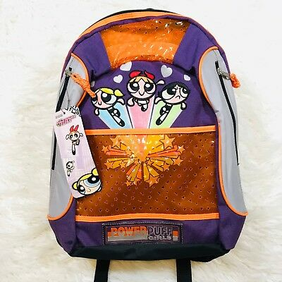 "Powerpuff Girls Backpack Cartoon Network ""nwt"" 2002 Power Puff Girls Bookbag"