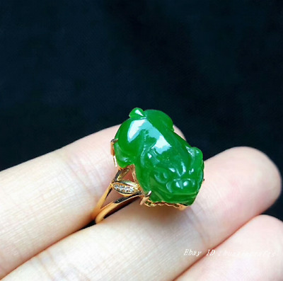 16mm collect China natural Hetian Jasper Jade Hand-carved Ring jewelry HSBS