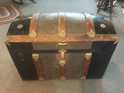 Antique Dome Top Trunk 1880's Gorgeous Solid With Tray & Inserts Camel Back 1860