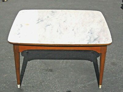 VINTAGE B.P. JOHN DANISH MID CENTURY COFFEE TABLE ~ White Faux Marble Top