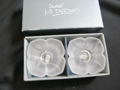 J G Durand Florence Satine Crystal Candle Holders Boxed