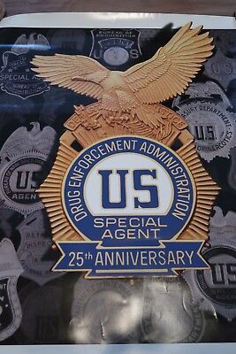 "Drug Enforcement Administration ""dea"" 25Th Anniversary Police Poster - 24"" X 30"""