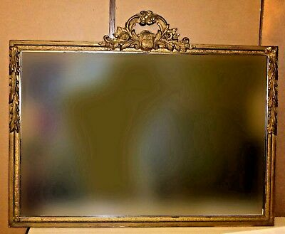 Vintage French Provincial Gold Gilt Large Ornate Wood Rectangular Wall MIRROR