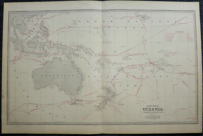 Large scale c1888 map of Oceania - Australia - New Zealand, by C S Wilkinson
