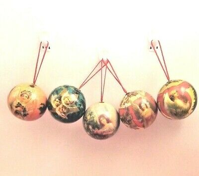 5 Vintage Paper Mache Christmas Ornaments Angel Round balls 5 Set