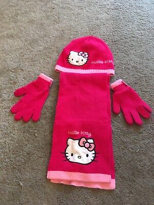 Girls Hello Kitty Hat Gloves And Scarf