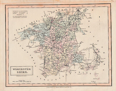 Antique map 'Worcestershire'  by Sidney Hall c.1832